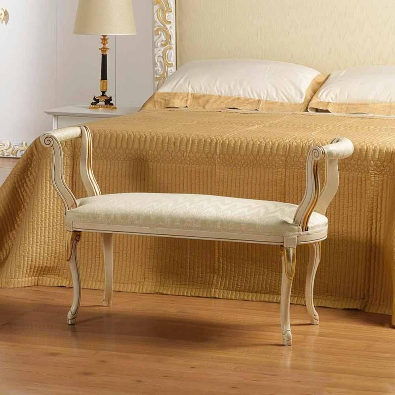 Bench Mat klasický design slonová kost se zlatými dekoracemi Tyler