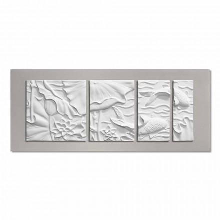 Dekorativní nástěnný panel Moderní design bílá a šedá keramická - Giappoko