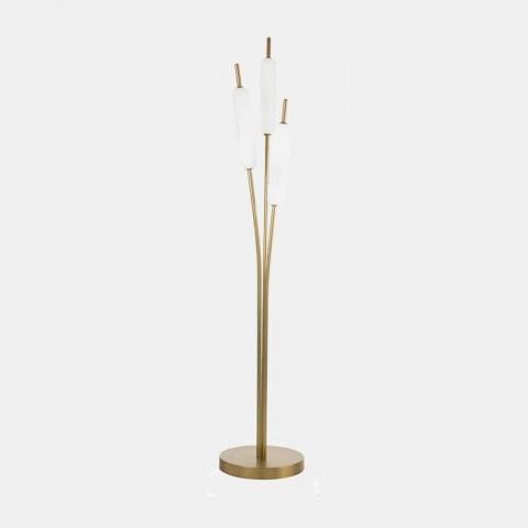 3 světla Stojací lampa v mosazi a skle Moderní elegantní design - Typha od Il Fanale