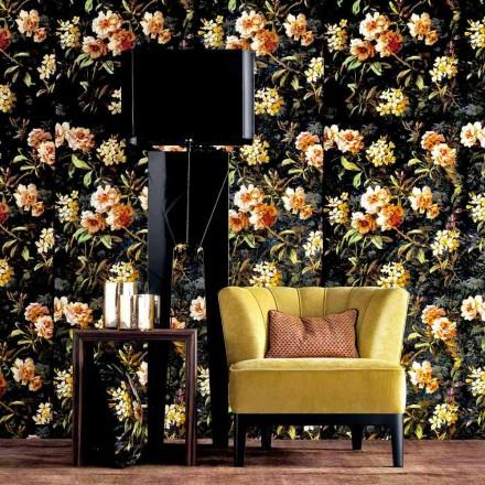Podlahová svítidla ze dřeva a designová tkanina Grilli Zarafa vyráběná v Itálii