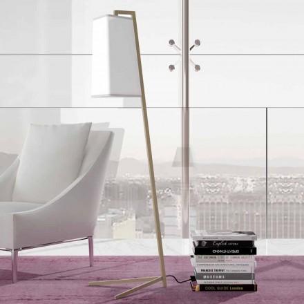 Kovová stojací lampa s moderním bílým bavlněným stínidlem vyrobené v Itálii - Barton
