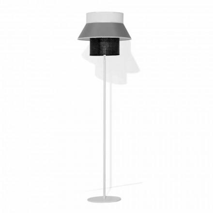 Moderní stojací lampa z kovu a stínidlo z bavlny a ratanu Made in Italy - Sailor