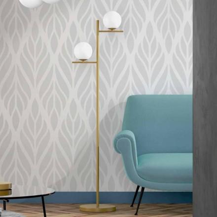 Moderní stojací lampa z kovového mosazi a opálového skla vyrobená v Itálii - Carima