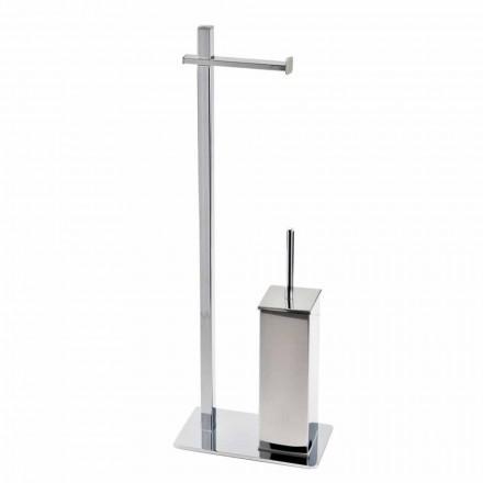 Moderní designový železný stojan na toaletní kartáč a role vyrobený v Itálii - Cali