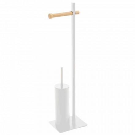 Držák toaletního kartáče a designový papír v kovovém a dřevěném materiálu Zelbio