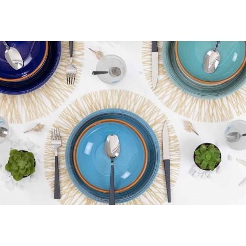 Barevné a moderní talíře 18 kusů v kamenina Kompletní stolní služba - Egadi