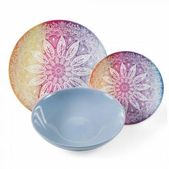 Barevná jídla v porcelánu a porcelánu 18 kusů servírovací stůl - Ipanema