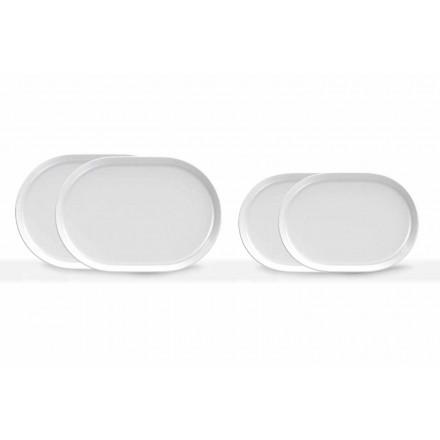 Moderní designové bílé oválné servírovací talíře v porcelánu 4 kusy - arktické