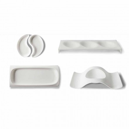 Gourmet Design Appetizer Service Plate v Bone China 9 Pieces - Flavia