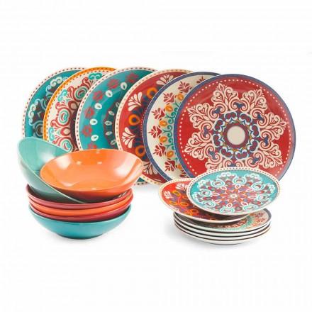Etnická jídla 18 kusů barevné porcelánové a kamenné stolní služby - Persie