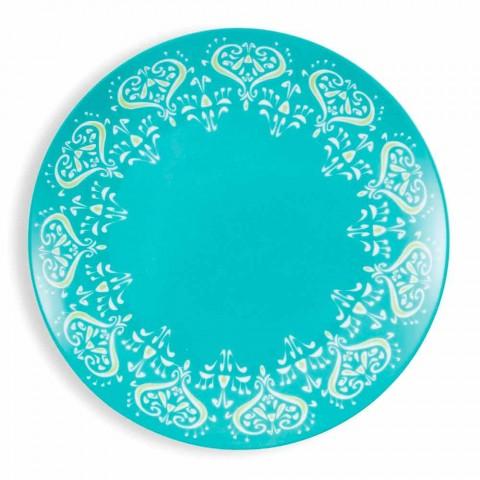 Barevný etnický talíř Porcelánový a kameninový stolní servis 18 kusů - Řecko