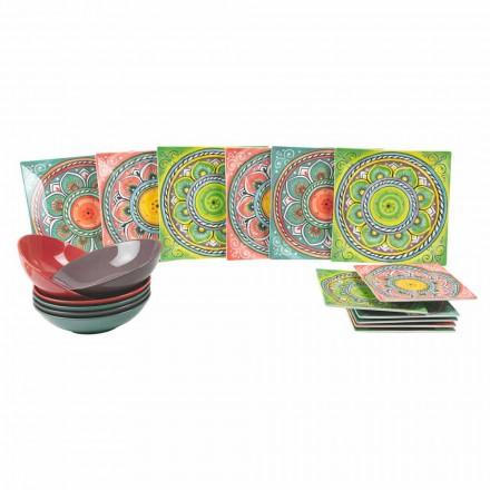 Čtvercové barevné etnické talíře v porcelánu a kamenné službě 18 kusů - Kanárské ostrovy