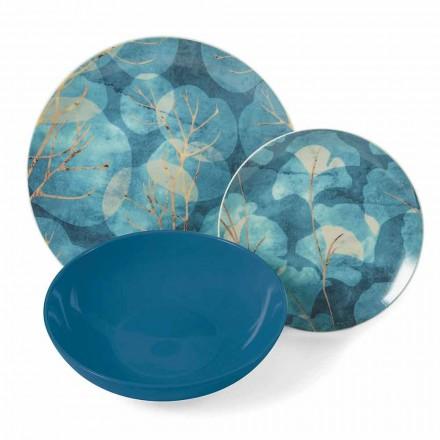 Moderní modré nebo růžové kamenina a porcelánové talíře 18 položek tabulky - podzim