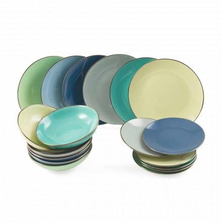 Desky z barevné moderní kameniny 18 kusů kompletní stolová služba - Regal