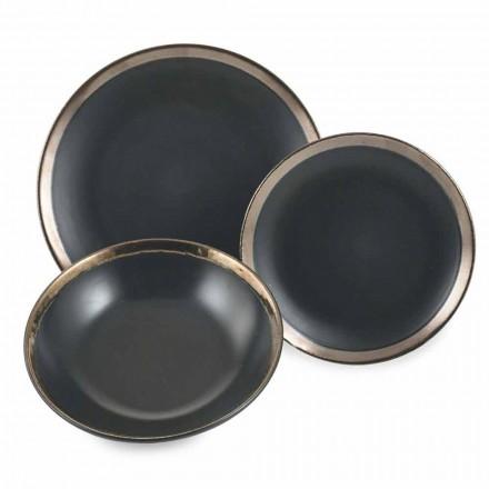Nádobí z černé a zlaté kameniny a nádobí Sada moderních 18 kusů - Oronero
