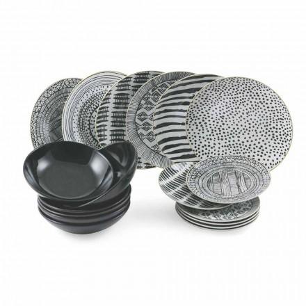 Porcelánové a černé kameninové talíře Kompletní stolní servis 18 kusů - Tribu
