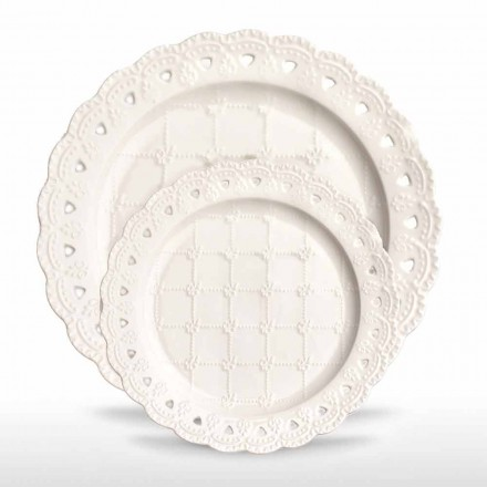 Oblíbený talíř 12 kusů v bílém porcelánu ručně zdobený - Rafiki