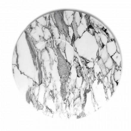 Kulatý servírovací talíř v bílém mramoru Carrara vyrobený v Itálii - Kamil