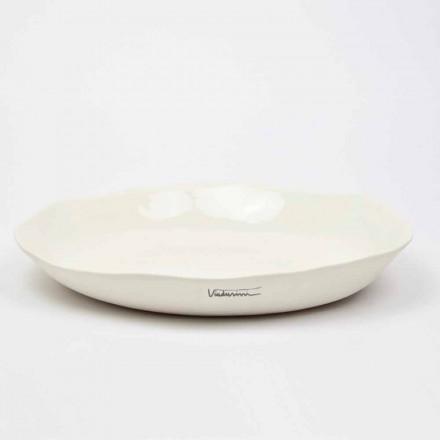 Italský luxusní bílý porcelánový kulatý servírovací talíř - Arcimaesta