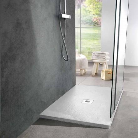 Sprchová vanička 120x90 moderní design v efektu bílé břidlicové břidlice - Sommo