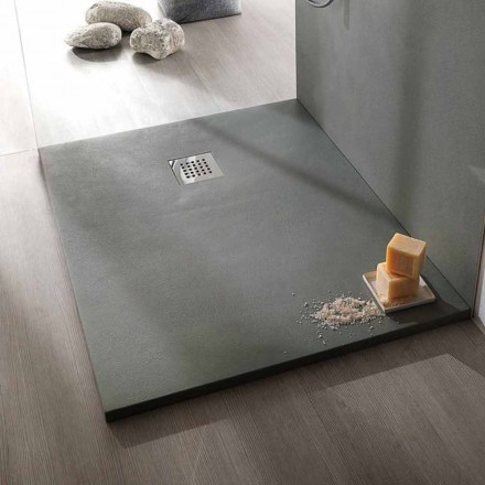 Sprchová vanička 120x90 moderní design v provedení pryskyřice s betonovým efektem - Cupio