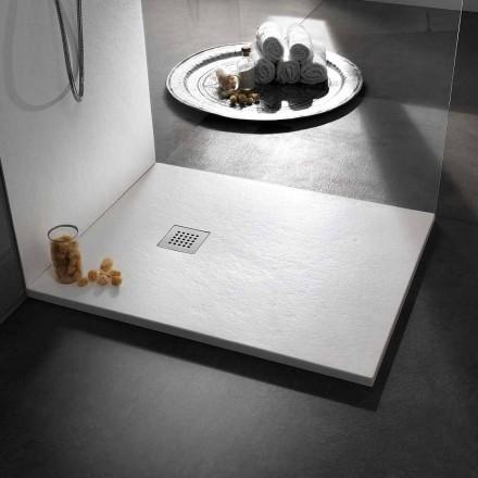 Sprchová vanička 120x90 v pryskyřici s kamenným efektem a ocelovou mřížkou - Domio