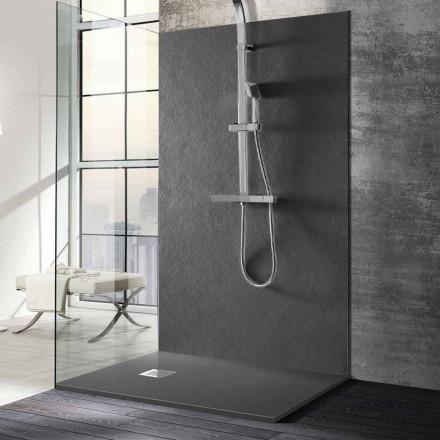 Sprchová vanička 140x70 v pryskyřici s kamenným efektem a ocelovou mřížkou - Domio