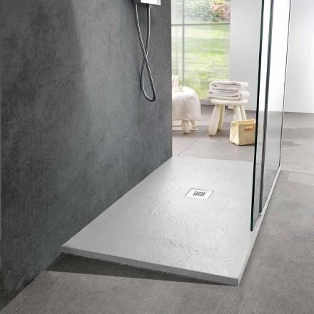 Pryskyřičná sprchová vanička 140 x 80 v provedení s bílou břidlicovou úpravou - Sommo