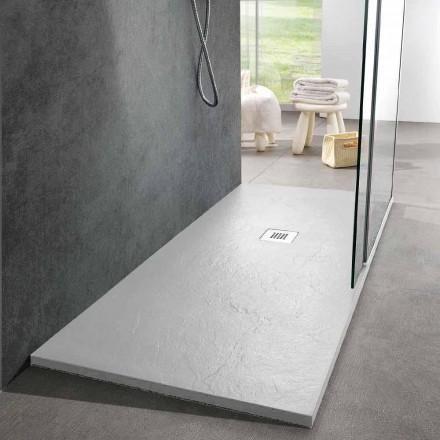 Sprchová vanička 160x70 moderní design v efektu bílé břidlicové břidlice - Sommo