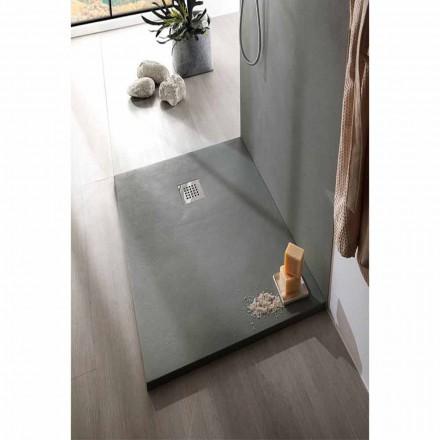 Sprchová vanička z pryskyřice s betonovým efektem 170x70 s ocelovým roštem - Cupio