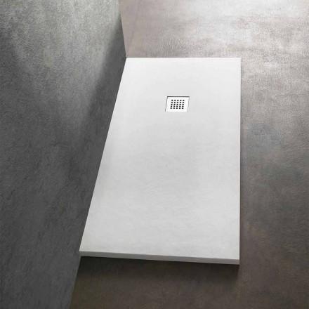 Sprchová vanička 170 x 80 v pryskyřici s kamenným efektem a ocelovou mřížkou - Domio