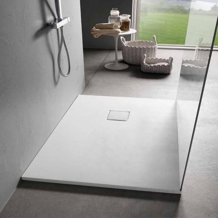 Sprchová vanička z bílého sametu s efektem pryskyřice 100x70 s odtokovým krytem - Estimo