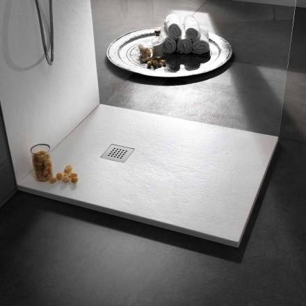 Moderní sprchová vanička 120x80 z kamene a oceli z pryskyřice - Domio