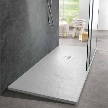 Moderní sprchová vanička 170x80 s efektem břidlice v bílé pryskyřici - Sommo