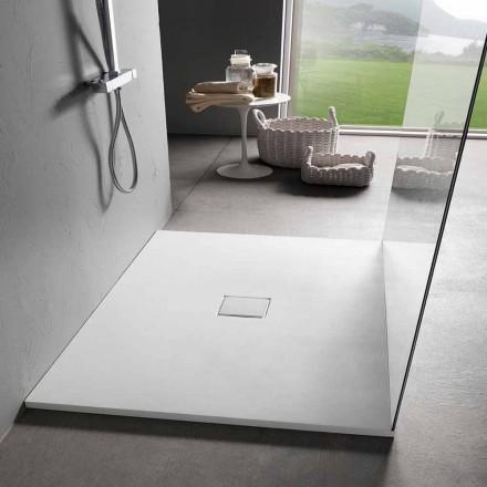 Čtvercová sprchová vanička 80x80 cm v sametovém efektu bílé pryskyřice - Estimo