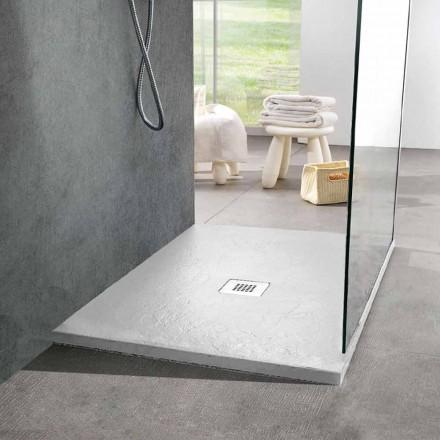 Čtvercová sprchová vanička 80x80 v bílé pryskyřici a oceli s efektem břidlice - Sommo