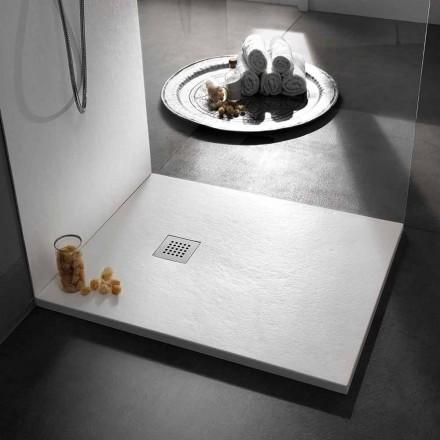 Čtvercová sprchová vanička 80x80 v pryskyřici s povrchovou úpravou Modern Stone Effect - Domio