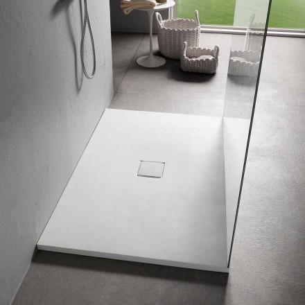 Obdélníková sprchová vanička 140x90 cm v provedení White Resin Velvet Effect - Estimo