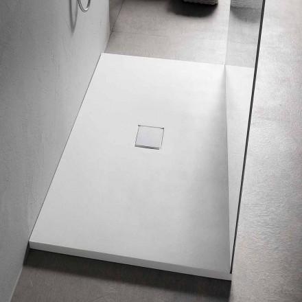 Obdélníková sprchová vanička 160x70 cm v moderním designu z bílé pryskyřice - Estimo