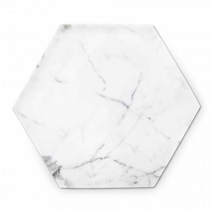 Šestihranný designový talíř z bílého mramoru Carrara Vyrobeno v Itálii - Sintia