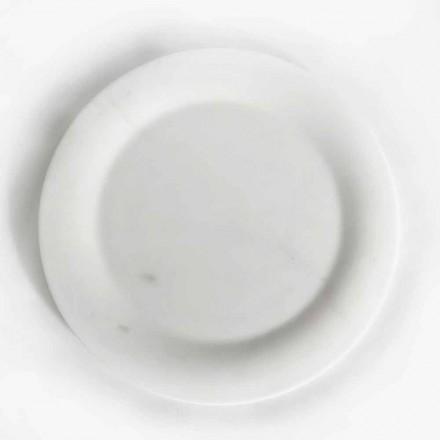 Plochý talíř v lesklém bílém sochařském mramoru designu Made in Italy - Brandy