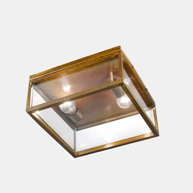 2-světelná venkovní stropní lampa z mosazi a klasického skla - rám od Il Fanale