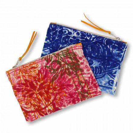 Ručně tištěná jednodílná bavlněná spojková taška, 2 kusy - Viadurini od Marchi
