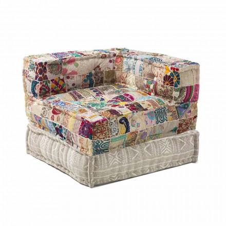Chaise Longue Křeslo etnického designu v Patchwork Cotton, pro obývací pokoj - vlákno