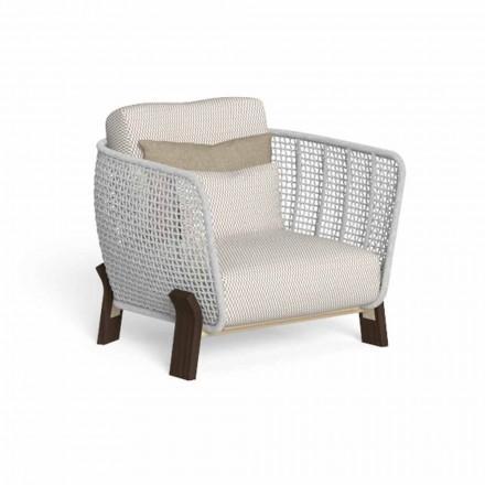 Venkovní křeslo z lana, textilu a drahého dřeva - Argo od Talenti