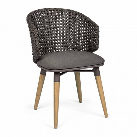 Zahradní křeslo s teakovými nohami a látkovým sedákem, Homemotion - Chantall