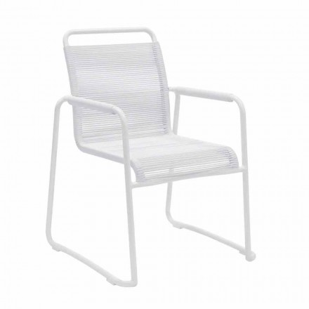 Zahradní židle z bílého hliníku, stohovatelný moderní design - riskantní