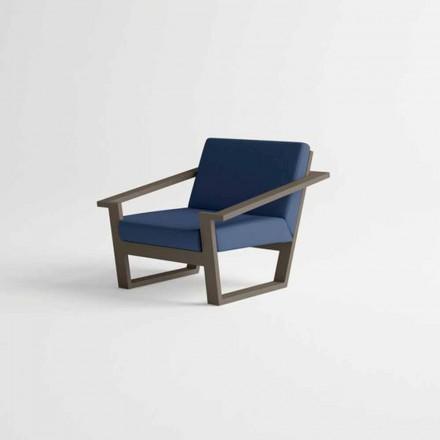 Zahradní židle z hnědého hliníkového a modrého textilního polštáře - Louisiana2