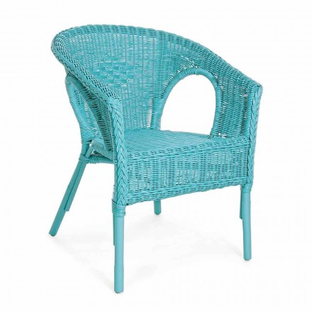 Stohovatelný design Zahradní křeslo Ratanová bílá / modrá / zelená - Favolizia