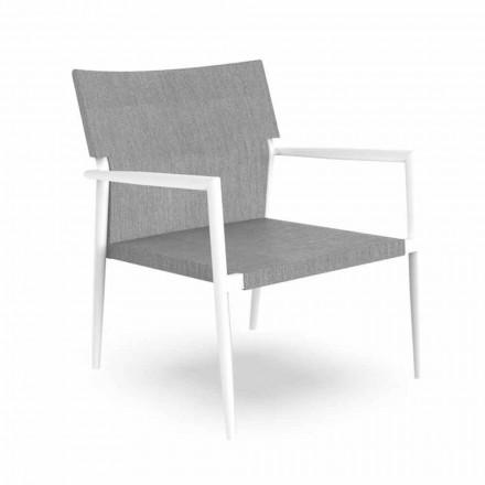 Moderní zahradní křeslo z hliníku a šedého textilu - Adam od Talenti